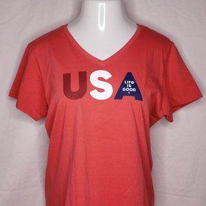 Life is Good Size Large Crusher T Shirt USA Short